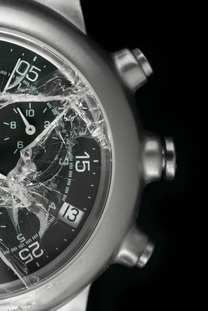 Kapot horloge glas